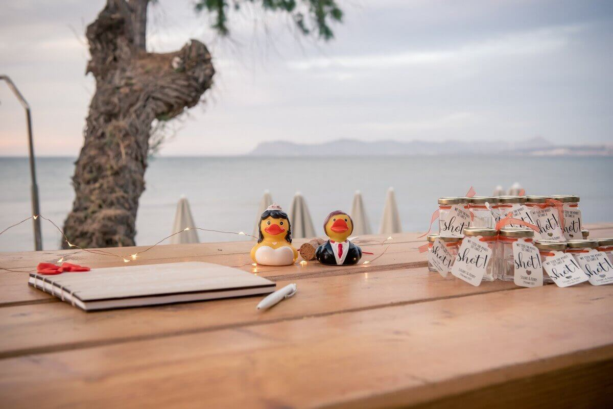 Crete beach wedding decoration and favours