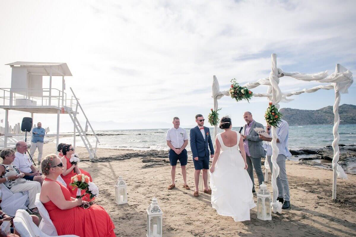 wide shot of wedding ceremony at Crete beach wedding