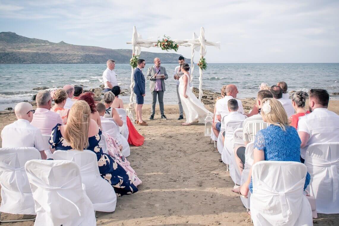 Marriage vows at Crete beach wedding