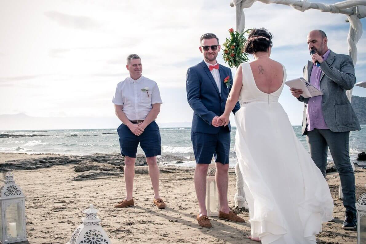 wedding ceremony at Crete beach wedding