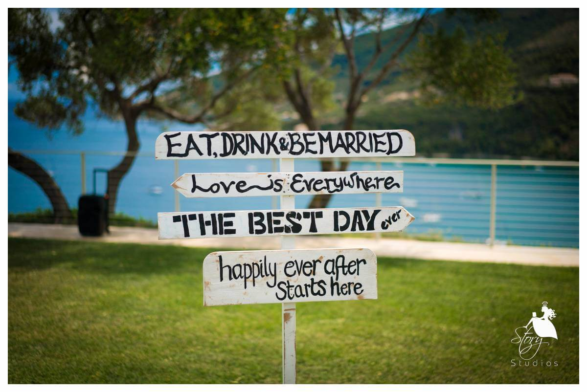 Vintage inspired signage at a private villa wedding zakynthos
