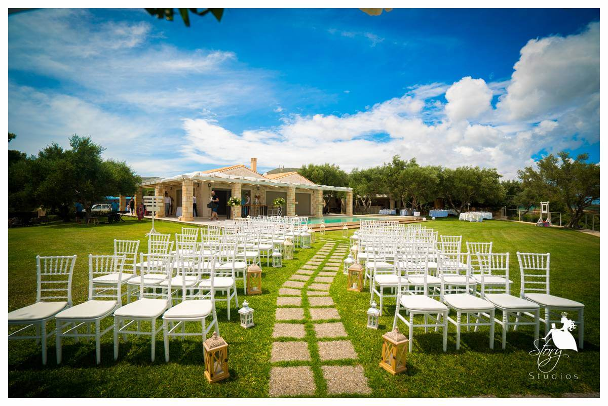 Ceremony style set up at our private villa wedding zakynthos
