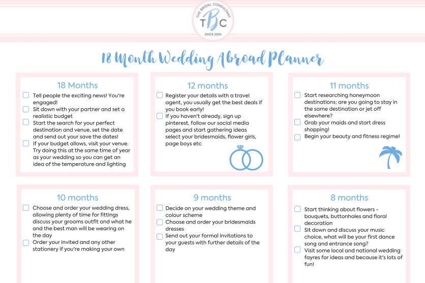 18 month wedding abroad planner